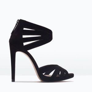 Zara black suede heels. NWT